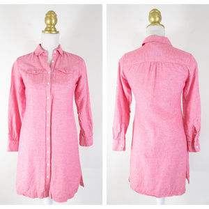 Brooks Brothers Pink Chambray Linen Shirt Dress